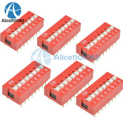 10PCS Slide Type Switch Module 2.54mm 8-Bit 8 Position Way DIP Red Pitch