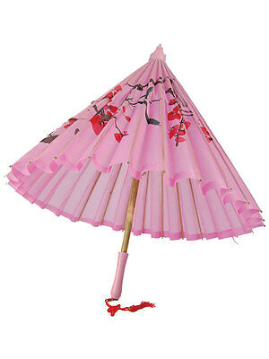 Pink Silk Painted Parasol With Wooden Handle Geisha Umbrella Fancy Dress Party