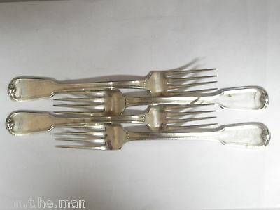Set 4 Silver Plated Continental Fiddle & Thread Dinner Forks
