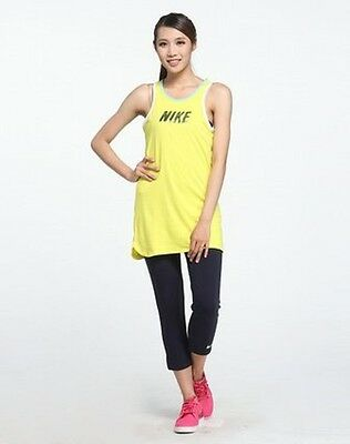 New Girls Nike Crop Leggings And Long Vest Set Rrp £24.99 Yellow / Navy All Ages