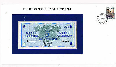 FRANKLINS BANKNOTES OF ALL NATIONS FINLAND 5 P106Aa 1963 UNC 1/61 SIG VAR