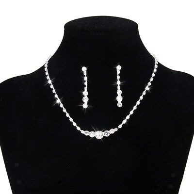 Wedding Bridal PROM Jewelry Set Rhinestone Crystal Beaded Necklace Earrings