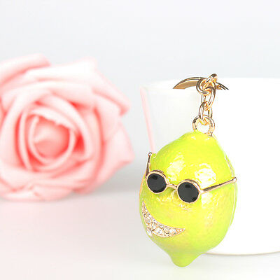 Green Lemon Prince Pendant Charm Crystal Purse Bag Key Ring Chain Creative Gift