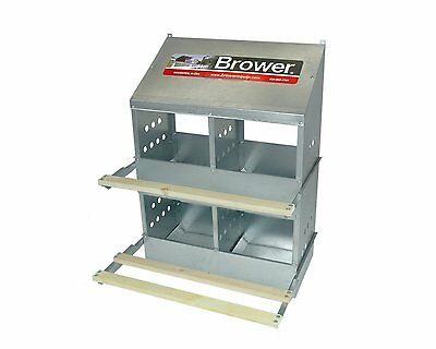 "Brower 404B 4-Hole 12"" X 12"" Galvanized Metal Chicken Nesting Box - USA"