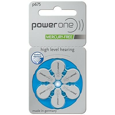 Power One Mercury Free Hearing Aid Batteries Size 675