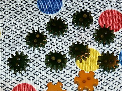 "Vintage Bakelite 1/2"" Gear Cog Buttons, Lot of 10 Green and Gold, Tested"