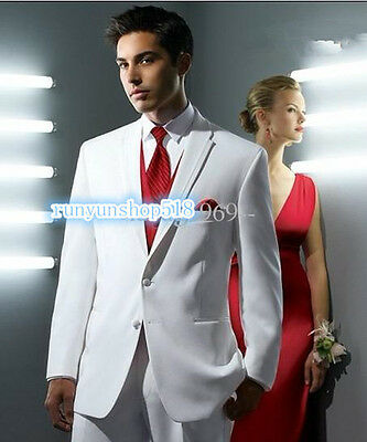 White Men's Wedding Suits Formal Tuxedos Business Suits Groom Best Man Tailcoats
