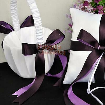 Romantic Bowknot Purple Satin Flower Girl Basket for Wedding Party Ceremony #P