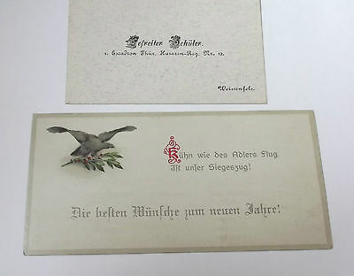 2 imperial german cards  hussars calling card and new years greetings