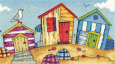 Heritage Crafts By The Sea Beach Huts Cross Stitch Kit
