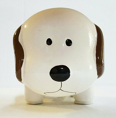 WHITE w/ BROWN MINI CERAMIC DOG PIGGY BANK LARGE SLOT COINS BILLS MONEY SAVE