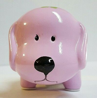 PURPLE w/ FLOWERS CERAMIC DOG PIGGY BANK LARGE SLOT COINS BILLS MONEY SAVE
