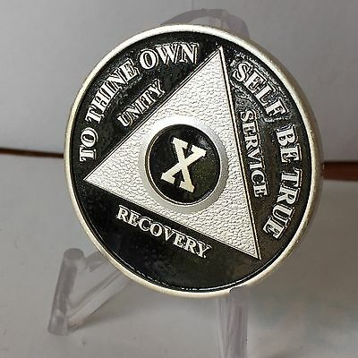 Black & Silver Plated Ten Year AA Chip Alcoholics Anonymous Medallion Coin 10
