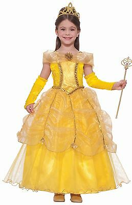 Princess Belle Designer Costume Girls Child Disney Gold - S 4-6, M 8-10, L 12-14