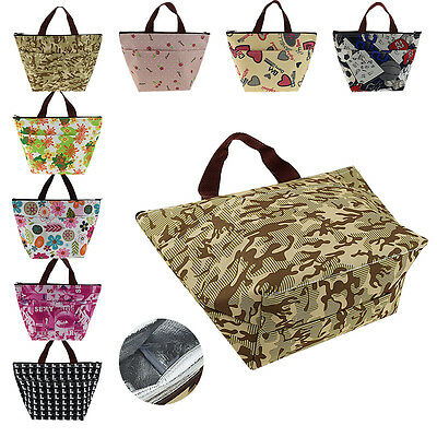 Insulated Tinfoil Cooler Thermal Picnic Lunch Bag Waterproof Shopping Tote Pouch