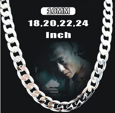 10MM 16-24INCH Wholesale Men  Silver Chain Boy Silver Necklace +bag