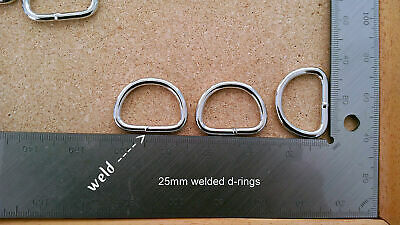 Welded metal d-rings 25mm 4mm wire thickness