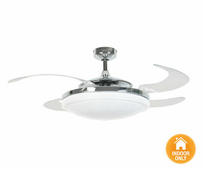 Fanaway Evo2 Endure Chrome Ceiling Fan with Clear Retractable Blades and Light