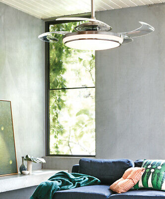 Fanaway Evo1 Prevail Brushed Chrome Ceiling Fan with Clear Retractable Blades an