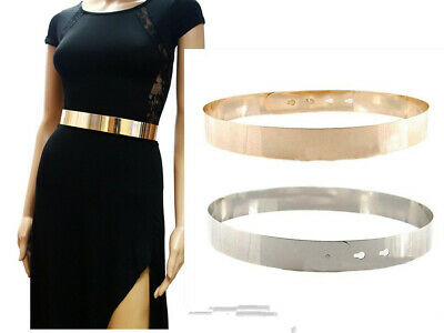 Women High Waist Metal Mirror Belt Metallic Gold Plate Shiny Chain Wide Obi Band