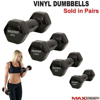Fitness Hand Free Weights Vinyl Coated Dumbbells Gym Workout Aerobic Strength