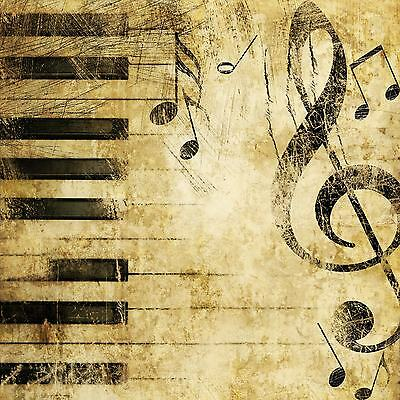 Vintage Piano Keys Music Notes WALL ART CANVAS FRAMED OR POSTER PRINT