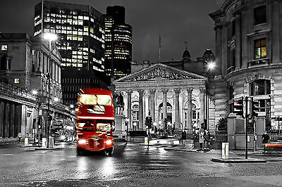 London City Red Bus Night Life B&W WALL ART CANVAS FRAMED OR POSTER PRINT