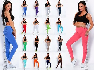 Full Length Cotton Leggings Gym Fitness Yoga Stretchy Pants Sizes 10-24 AU