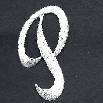 """WHITE SCRIPT LETTER """"P"""" Iron On Embroidered Patch"""