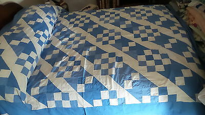 "Antique QUILT TOP Pieced, Shades of Blue & White, 74""x92"""