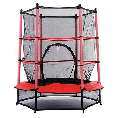 "NEW! 55"" Kids Trampoline with Safety Net Enclosure & Red Cover Garden Outdoors"