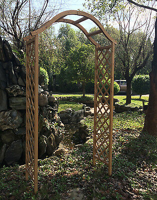 Wooden Garden Arch Archway Elegant Decorative Tan/Natural Wood Woodside