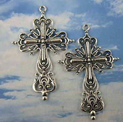 5/10pcs Retro style lovely Double sided cross alloy Charms Pendants 63x42mm