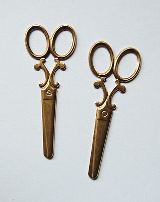 VINTAGE 2 NATURAL RAW BRASS LARGE SCISSORS SCISSOR METAL STAMPING 2 &5/8ths inch