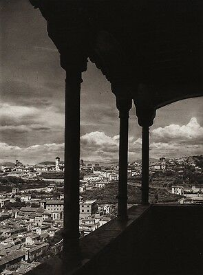 1922 Vintage SPAIN Granada Alhambra Palace Albayzin Landscape Photo By HIELSCHER