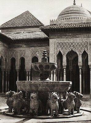 1922 Vintage SPAIN Granada Alhambra Palace Lion Fountain Court Art By HIELSCHER