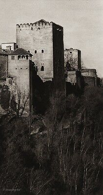 1922 Vintage SPAIN Granada Alhambra Palace Tower Fort Landscape Art By HIELSCHER