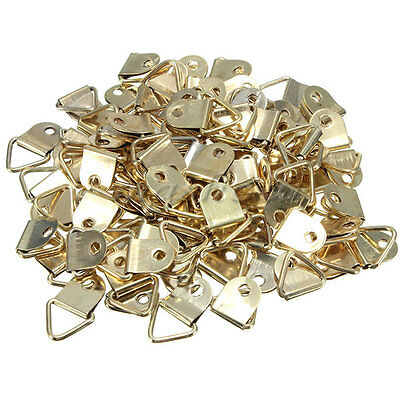 100 D Ring Frame Hanger Hooks Picture Frame Hanging Triangle Screws Brass Plated