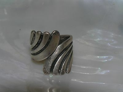 Vintage Hallmarked Oxidized Sterling Silver Feather Swirl Wrap Ring Size 7.5 –