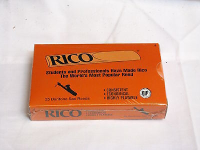 RICO Baritone SAXOPHONE reeds NEW - box of 25 - #4 Strength Gauge