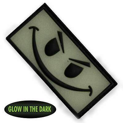 NEW 3D PVC Evil Smiley Face Military Army Tactical Velcro Morale Patch Back Glow