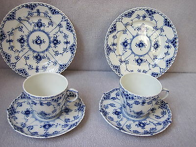 2  Coffee  Sets  Royal Copenhagen  Blue Fluted Full Lace