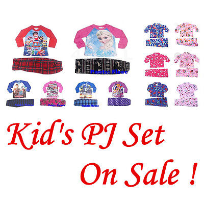2 PCS Girls Boys Kids Long Sleeve Winter Pyjamas Pajamas PJ Nightie Set Sz
