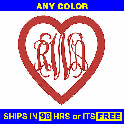 "18"" Painted Heart Monogram Wooden Letter Baby Wedding Initials Wall Door Wood"
