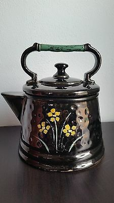 McCOY TEA POT KETTLE  COOKIE  JAR w/ TEAL  HANDLE