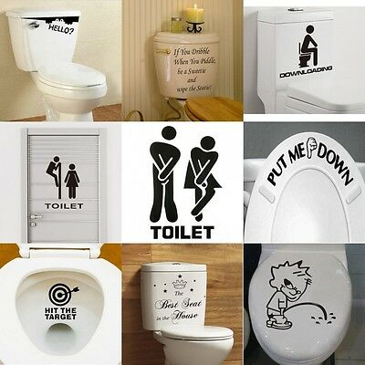 New Toilet Seat Wall Sticker Vinyl Art Removable Bathroom Decals Decor