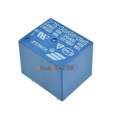 10pcs Mini Power Relay 5V DC SRD-5VDC-SL-C SRD-5VDC-SL-C PCB