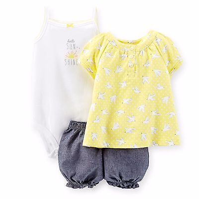 NEW NWT Carter's Girls 3 Piece Short Set 6 12 18 or 24 Months Doves