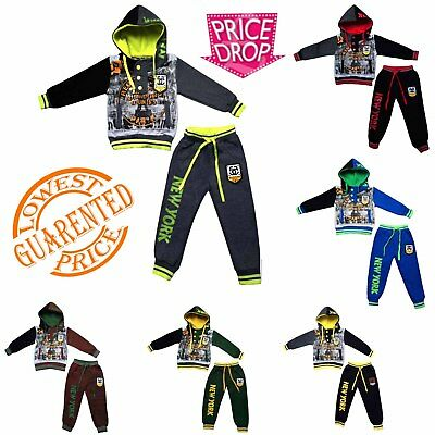 New Boys Tracksuit Kids Jogging Suit Hoodie Joggers Set Size 2-8 Years AB37