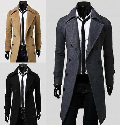 Fashion Mens Slim Fit Stylish Coat Winter Long Jacket Double Breasted Overcoat D